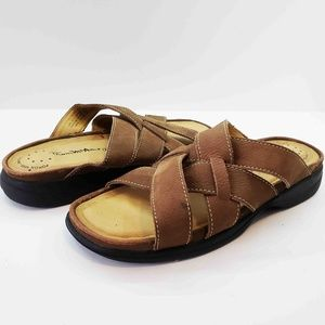Thom McAn Womens Brown Slip On Leather Sandals 8